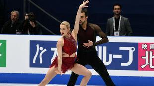 Olivia y Adriá, en plena competición
