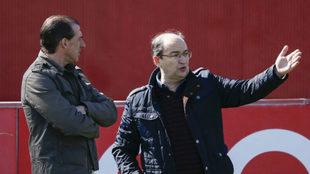Arias y Castro, hoy en el entrenamiento.
