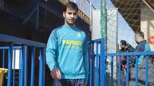 Trigueros, en un entrenamiento del Villarreal.