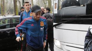 Silva, con la selección española en Düsseldorf.