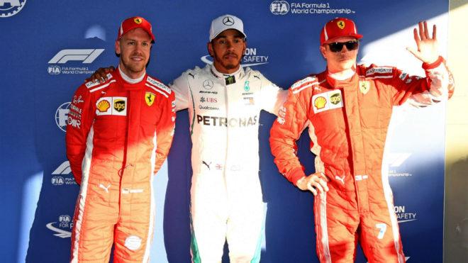 Vettel, Hamilton y Raikkonen.