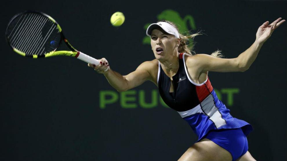 Caroline Wozniacki, en su partido ante Mónica Puig