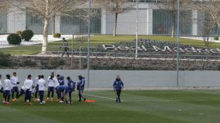 La Albiceleste, entrenando en Valdebebas, Ciudad Deportiva del Madrid.
