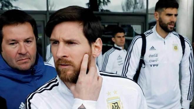Messi, a la llegada de Argentina a Madrid.