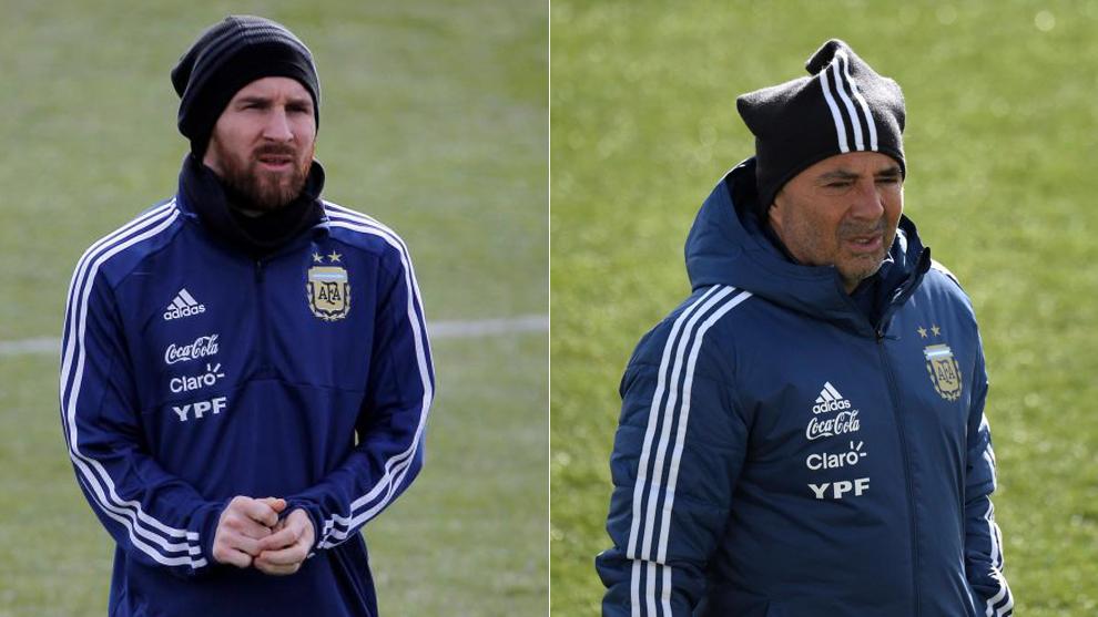 Messi y Sampaoli, en Valdebebas.