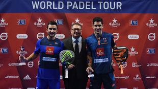 Sanyo y Maxi con Ramón Agenjo, presidente del World Pádel Tour