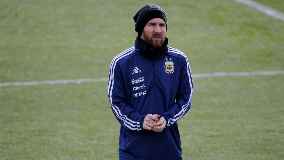 Messi, el domingo en el entrenamiento de Valdebebas.