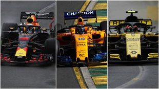 Ricciardo (Red Bull), Alonso (McLaren) y Sainz (Renault).