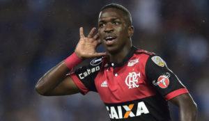 Vinicius, celebrando uno de sus goles en la Libertadores