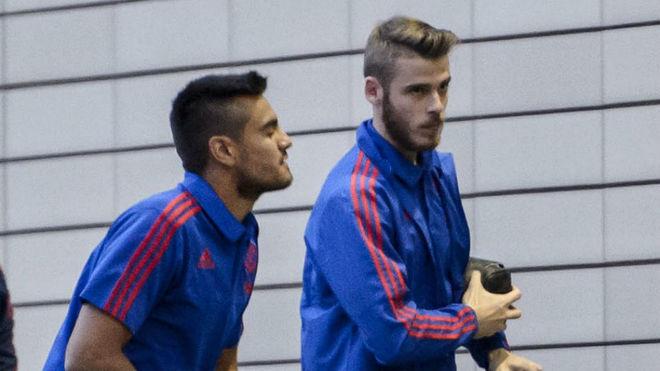 Romero y De Gea en una concentración con el United.