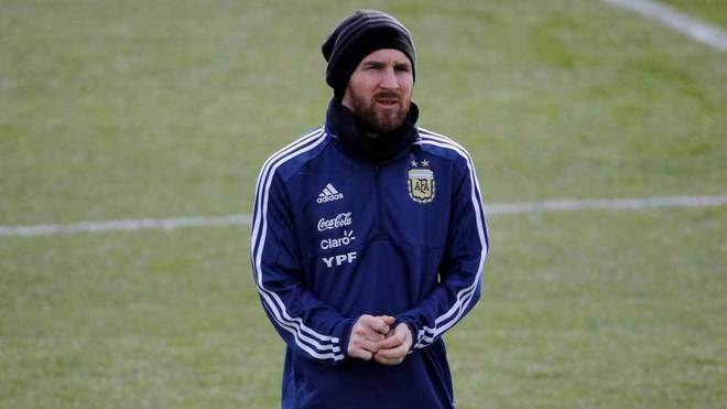 Messi, en un entrenamiento con Argentina.