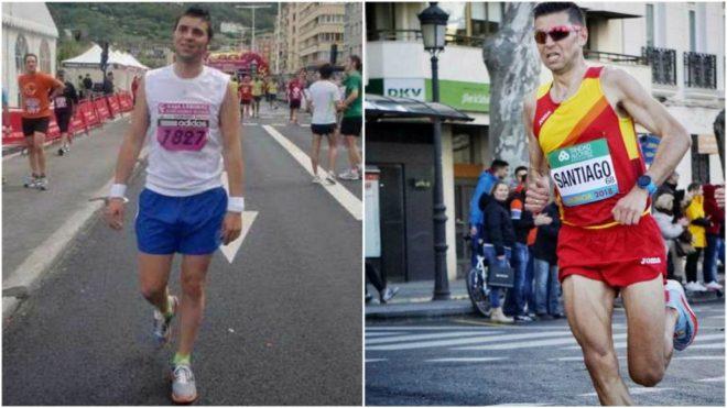 Camilo en su primera carrera en 2011 y en el Mundial de Medio Maratón...