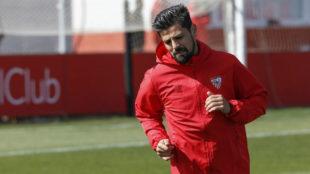 Nolito, en un entrenamiento del Sevilla.