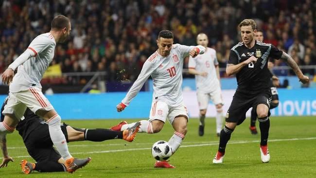 Thiago dispara a puerta para marcar ante Argentina,