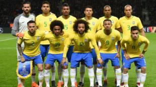 El once de Brasil ante Alemania.