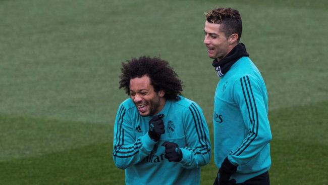 Ronaldo y Marcelo, durante el entrenamiento en Valdebebas