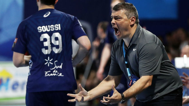 Xavi Pascual durante el partido de ida en Montpellier