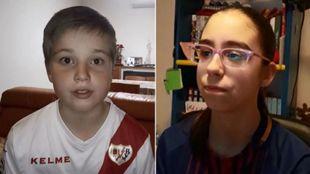 Andrés González (11) y Diana Hormigo (12), ganadores del concurso...