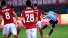 Momento en el que Carrasco marca ante el Henan Jianye el primer gol de...
