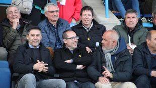Bartomeu, en el palco del Estadio Municipal de Palamós, durante el...