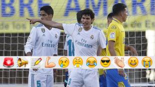 Vallejo da órdenes en un momento del U.D.-Real Madrid