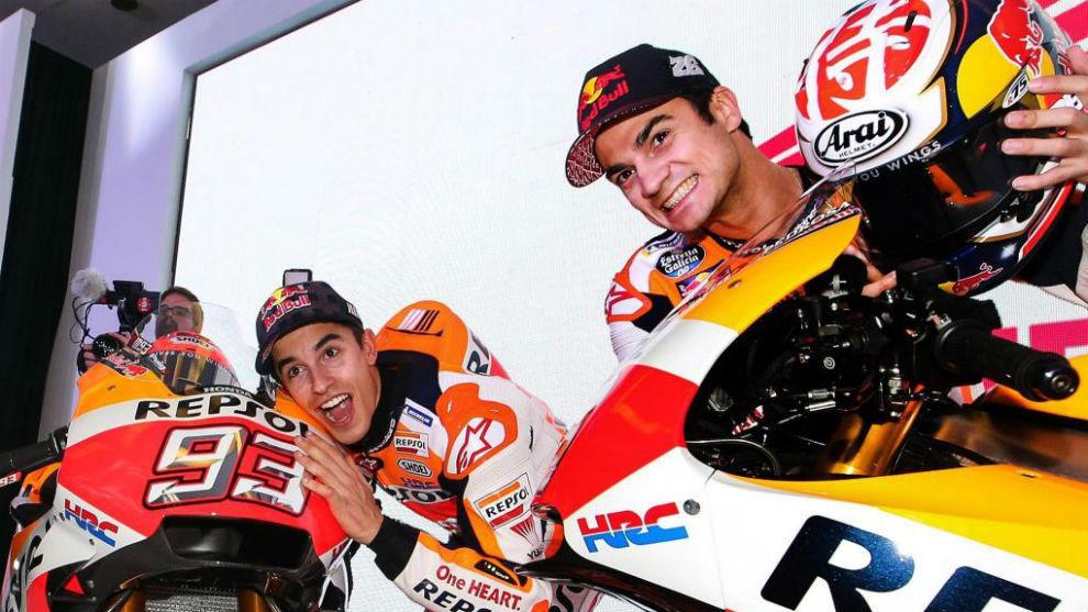 Márquez, con Pedrosa, en la presentación de Honda.
