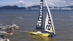 El Team Brunel a su llegada a Itajaí (Brasil), en la séptima etapa...