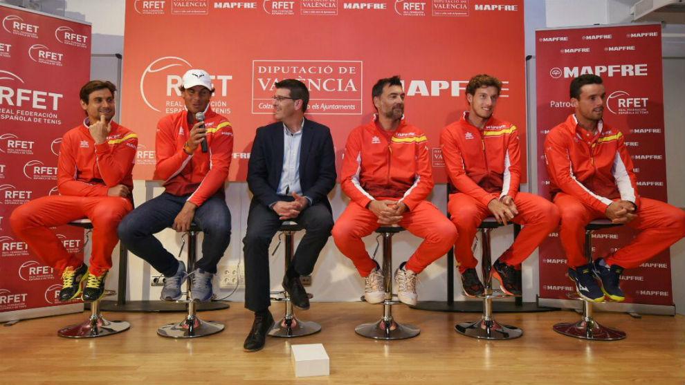 El equipo español de Copa Davis, en un acto de MAPFRE