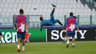 Cristiano Ronaldo, en el entrenamiento en Turín.