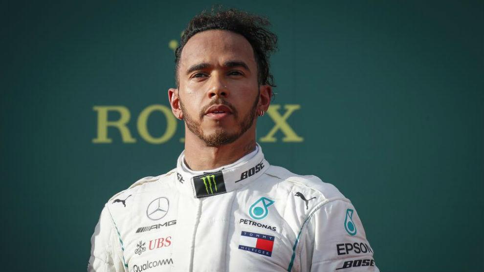 Hamilton, en el podio de Australia