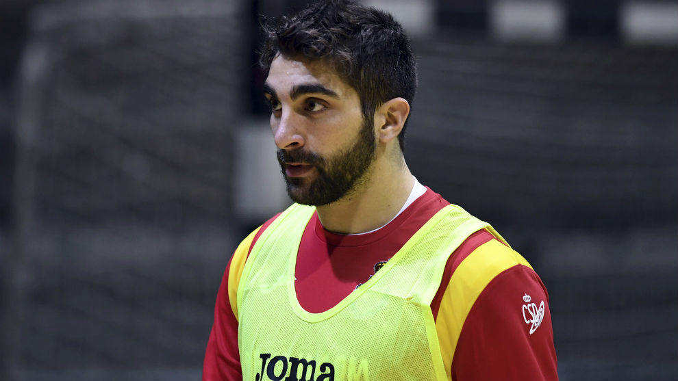 David Balaguer, en un entrenamiento con la selección española.