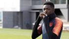 Dembélé, en un entrenamiento con el Barça