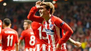 Griezmann, imitando al videojuego Fortnite tras su gol al Sporting