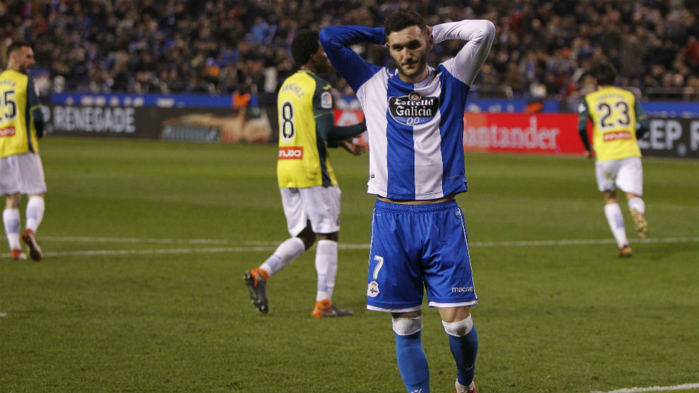 Lucas Pérez en el partido ante el Espanyol