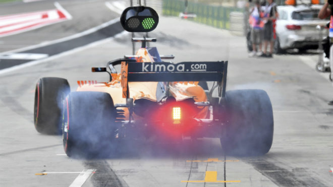 El MCL33 de Alonso, en Bahréin.