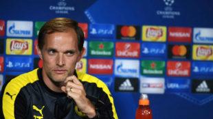 Tuchel, en rueda de prensa con el Borussia Dortmund.