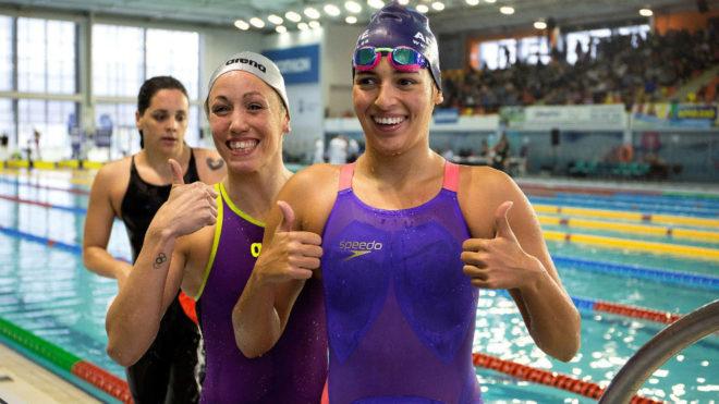 Michelle Alonso, junto con Jessica Vall, tras nadar juntas su...
