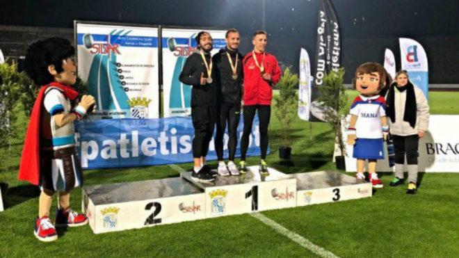 Podio masculino del Campeonato de España de 10.000 metros.