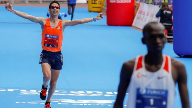 Javi Guerra en el Maratón de Sevilla.