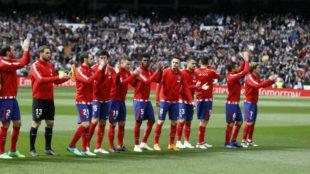 El once del Atlético en el Bernabéu.