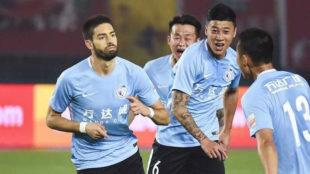 Carrasco celebra su gol conseguido en la visita ante el Henan Jianye