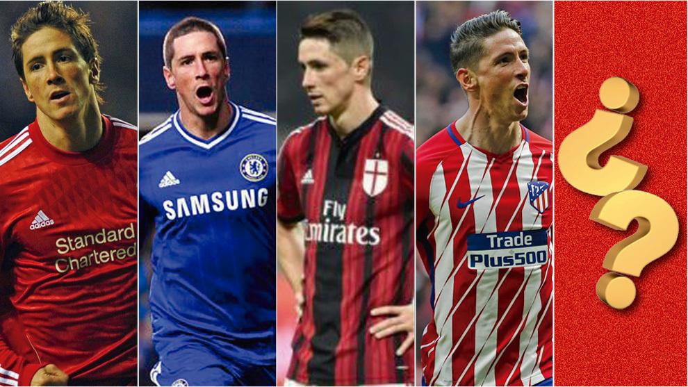 Fernando Torres con las camisetas de sus diferentes equipos