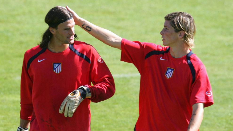Leo Franco y Fernando Torres durante su etapa en el Atlético