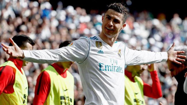 Cristiano celebra su gol al Atlético.