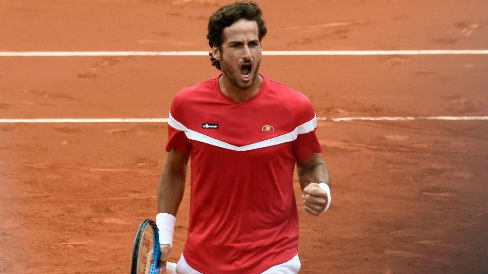 Feliciano López, gesticula al ganar un set