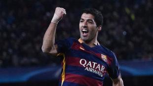 Luis Suárez celebra su gol en el Olímpico de Roma, el último que...
