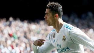 Cristiano celebra su gol en el derbi en el Bernabéu