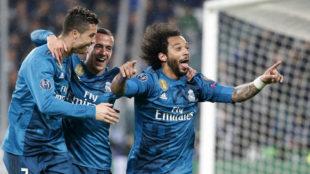 Cristiano, Lucas y Marcelo celebran un gol en Turín