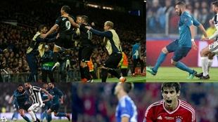 Ben Yedder celebra un gol, Benzema controla un balón, Higuaín...