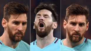 Distintos gestos de Messi contra la Roma